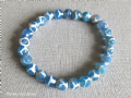 Faceted Blue & White Spotted Agate Beaded Stretch Fashion Bracelet | Silver Sensations